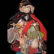 Antique Doll Wood Pegged Grodnertal Peddler Doll Peddlar W/ TONS of Accessories