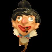 Antique Papier Mache Paper Groucho Marx Smoker Movie Star Doll Head Unique Bottle Top