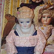 Vintage Doll Emma Clear China Head Porcelain Fancy Doll Glass Eyes Molded Bodice