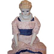 Vintage Doll Emma Clear China Head Porcelain Fancy Doll Glass Eyes Molded Bodice