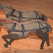 Old Doll Pull Toy Wood & Litho Horses Pulling Wagon Wonderful Miniature