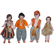 Old Doll Miniature Dollhouse Lot Family Bisque All Bisque Jointed W/ Original Clothing Wired Bisque