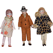 Antique Doll Set All Bisque Jointed Lady & Man Doll Set Miniature Dollhouse Factory Original Clothing