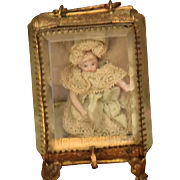 Antique Doll French Gilt Metal Cabinet Casket Beveled Glass Carriage Case W/ Miniature Doll All Bisque Dollhouse Dream Presentation Box