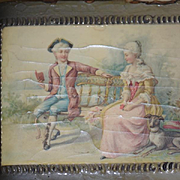 Old Wood & Lacquer Vanity Box Victorian Scene Wonderful For French Fashion Doll