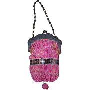 Antique Doll Miniature Beaded Purse For French Fashion