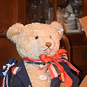 Huge Teddy Bear Mohair Jointed Steiff Dressed with Old Medals