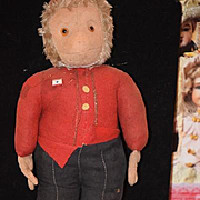 Antique Doll Monkey Bellhop Felt Doll Cloth Doll Unusual