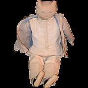 Old Unusual Cat Doll W/ Shoes Dressed Rag Doll Cloth Doll Folk Art Primitive