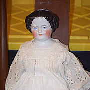 """Antique Doll China Head HUGE Dressed In Antique Clothing! 27 1/2"""" Flat top"""