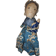 Old Doll Cloth Doll Rag Doll Miniature W/ Cloth Doll Baby Most Unusual