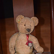 Old Teddy Bear Chad Valley W/ Button Wonderful Mohair Jointed Doll Friend