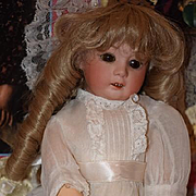 """Antique Doll Bisque Heubach 8192 Dressed Adorable Cabinet Size 14"""" Tall"""