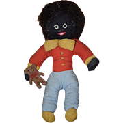 Vintage Doll Cloth Doll Rag Doll Golliwog Black Doll W/ Teddy Bear Miniature Dollhouse Wonderful