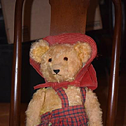 Old Teddy Bear Mohair Jointed W/ Growler Dressed For a Party! Doll Friend