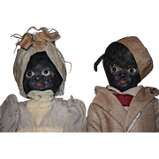 Antique Doll Doll Set All Original Black Dolls Papier Mache Paper Mach Glass Eyes Original Clothes Folk Art