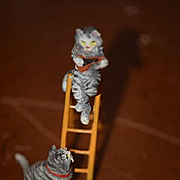 Old Austrian Bronze Miniature Cat Kittens On Ladder Playing Fiddle Dollhouse