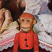 Antique Monkey Doll Bell Hop Mechanical Yes or No Monkey Unusual Jointed Bellhop Doll Friend