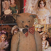 Old Teddy Bear Hump Back Jointed Mohair Steiff? W/ Goggles and Glasses WONDERFUL Doll Friend