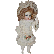 Vintage Doll Miniature All Bisque Barefoot Doll Glass Eyes Artist