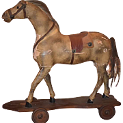 Old Wood Horse For Doll On Wheels Pull Toys Ride On