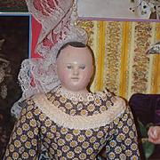 Antique Papier Mache Paper Mache Doll Fancy Wispy Hair