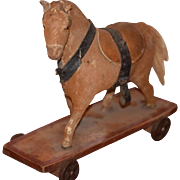 Old Doll Toy Horse on Wheels Pull Toy Wood w/ Hide