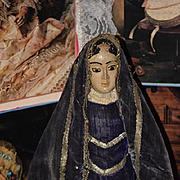 Old Santos Figure Doll Wood Carved Wonderful Original Clothing W/ Cage Base