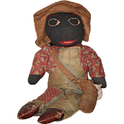"Old Doll Cloth Doll Rag Doll Black Doll Folk Art Primitive Unusual ""Farmer John"""