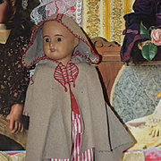 Antique Doll Black Bisque French Cabinet Size Doll Sweet Old Clothing