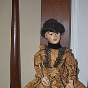 Antique Doll Wood Carved Glass Eyes Fashion Doll Gorgeous