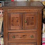 Antique Doll Dressing Cabinet Vanity For French Fashion Inlaid Walnut Wardrobe