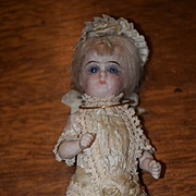 Antique Doll Miniature French Market All Bisque Swivel Head FAB Clothing