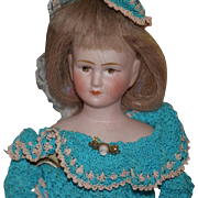 Antique Doll French Wind Up Walking Doll Gorgeous Cabinet Size Mechanical