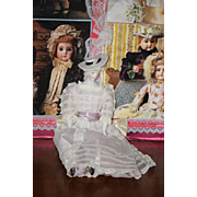 Old Doll Emma Clear Unusual Fancy Molded Hat Signed Fancy Clothes & Corset Parian China Head
