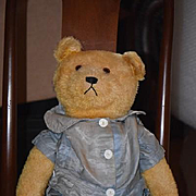 Old Teddy Bear W/ Growler Jointed Mohair Golden Brown Big Guy Doll Friend