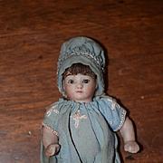 Antique Doll Miniature All Bisque Fancy Clothes Dollhouse Doll Cutest Miniature Doll !!