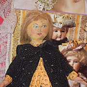 Old Doll Cloth Doll Rag Doll Oil Painted Gorgeous