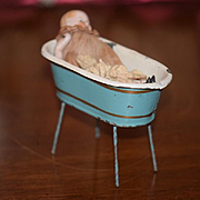 Antique Doll Miniature All Bisque W/ Old Tin Tub on Legs Dollhouse Wash Tub