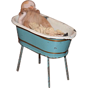 Antique Doll Miniature All Bisque W/ Old Tin Tub on Legs Dollhouse Wash Tub