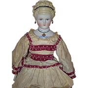 Vintage Doll Emma Clear Artist Parian China Head Fancy Bodice Necklace Great Hair Style