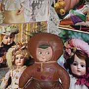 Old Doll Cloth Rag Doll Oil Cloth Doll Googly