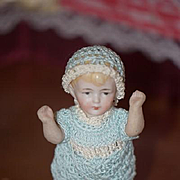 Antique Doll Miniature All Bisque Dollhouse Jointed China Head