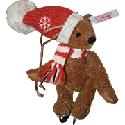 Vintage Teddy Bear Jointed Steiff Tagged Button W/ Hat & Scarf in Ice Skates