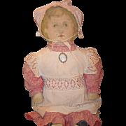 Old Cloth Doll Rag Doll ART FABRIC MILLS Dressed Wonderful Printed Cloth Doll W/ Cameo