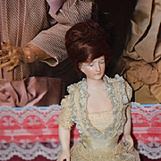 Antique Doll Miniature Dollhouse Lady Jointed Solid Dome Old Clothing