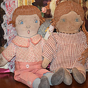Old Cloth Doll Set Rag Doll Folk Art Primitive Cloth Doll Pair Boy & Girl Sewn Features