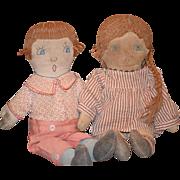 Old Cloth Doll Set Rag Doll Folk Art Primitive Cloth Doll Pair Boy & Girl Sewn Features