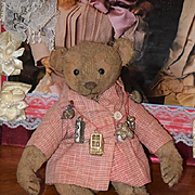 Old Teddy Bear Doll Friend Button Eyes Jointed Cabinet Size