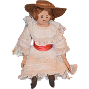 Old Doll Cloth Doll Unusual Sewn Features Fancy Clothes Rag Doll